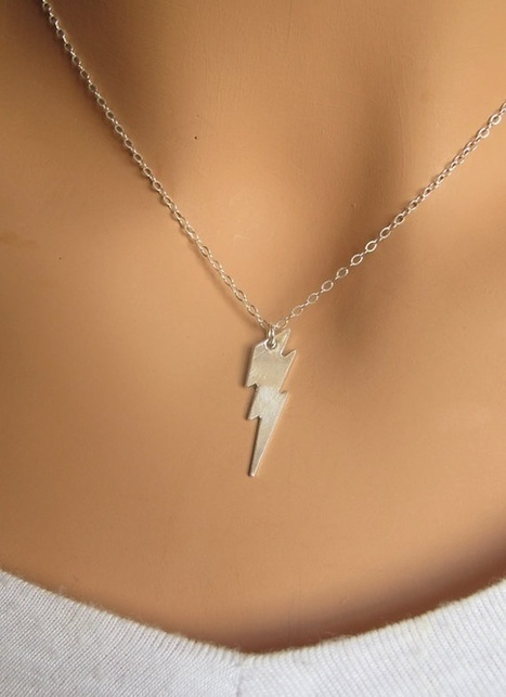Lightning Bolt Tiny Sterling Silver Necklace   FanPhobia - Celebrities Database   Tattos and Jewelry   Scoop.it