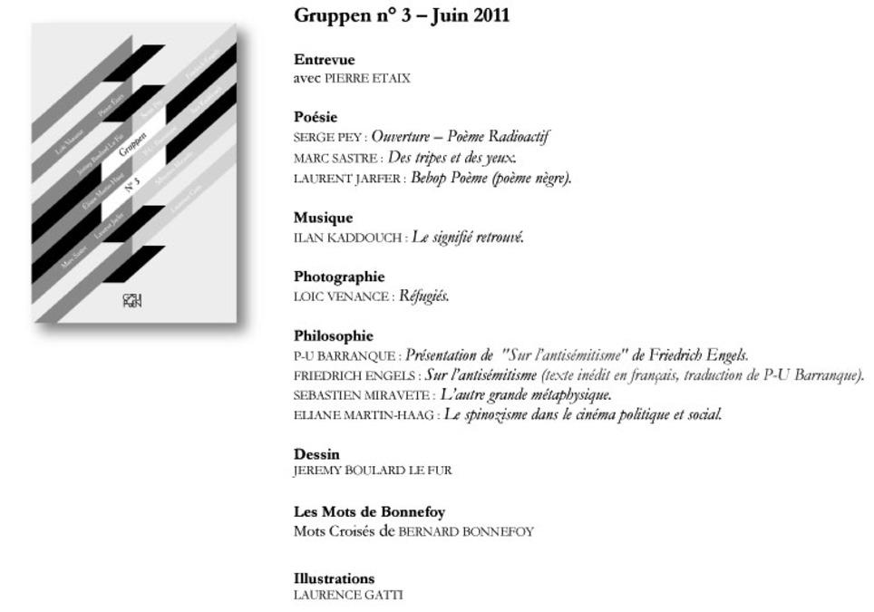Revue Gruppen, le numéro 3, sommaire | Poezibao | Scoop.it