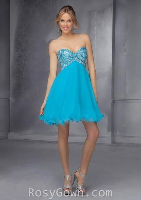 Short Empire Sweetheart Blue Chiffon Beaded Homecoming Dress | Cheap Prom Dresses | Scoop.it