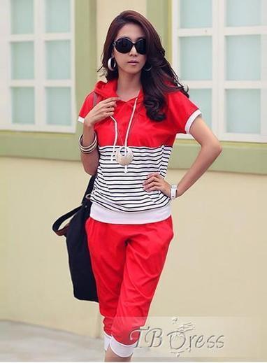 $ 26.69 Splendid Two Pieces Set Red Striped Sports Suit | beauty | Scoop.it