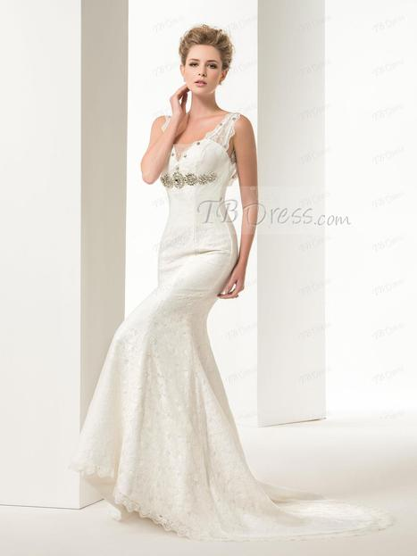 Graceful Mermaid/Trumpet Lace Crystal Straps Court Train Floor-Length Lace-up Wedding Dress | fashiongril | Scoop.it