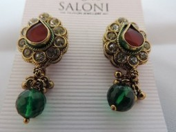 Ruby red and green diamanté earring and colourful broach | Interesting box | Scoop.it