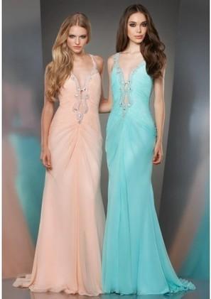 Sheath Column V Neck Brush Train Blue Chiffon Evening Dress Adosh0030 - Evening Dresses - Special Occasion Dresses | mode | Scoop.it