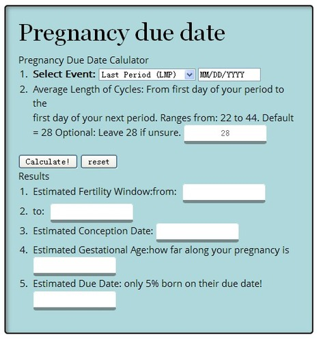 Due Date Calculator | mrs | Scoop.it