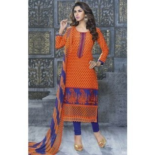 Charismatic Orange Cotton Kameez With Amazing Multicolored Dupatta ! Unstitched Salwar Kameez | Nice one | Scoop.it