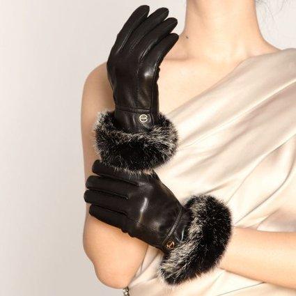 ELMA feminine wintry weather warm Nappa leather Gloves Gold Plated logo Rabbit Fur Trim (S, Black) | from my desk | Scoop.it
