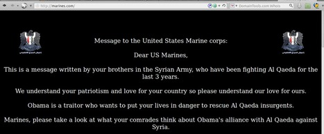 The official US marines website was breached to post a message from their bros in Syrian army | Unthinking respect for authority is the greatest enemy of truth. | Scoop.it