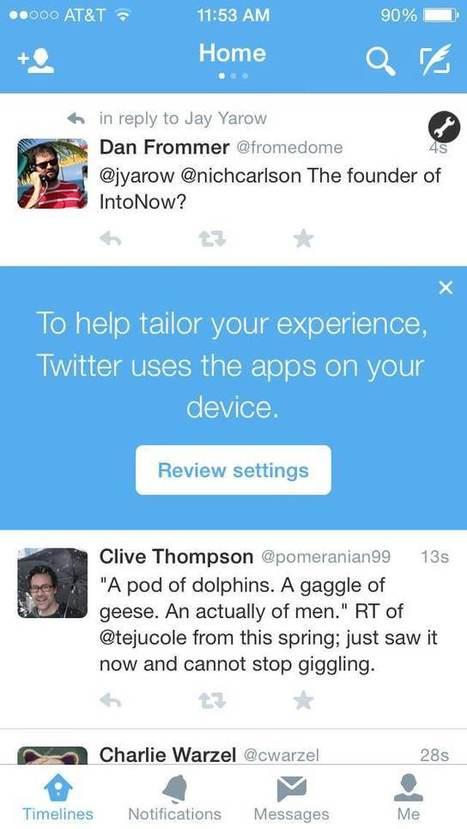 Twitter suit vos apps pour une 'expérience plus personnalisée' | TICE en tous genres éducatifs | Scoop.it