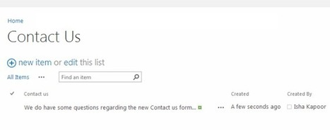 Create a Contact Us or FeedBack Form in SharePoint 2013 | SharepointBI | Scoop.it