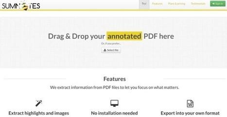 Sumnotes. Extraire l'essentiel de vos fichiers PDF – Les Outils Tice | François MAGNAN  Formateur Consultant | Scoop.it