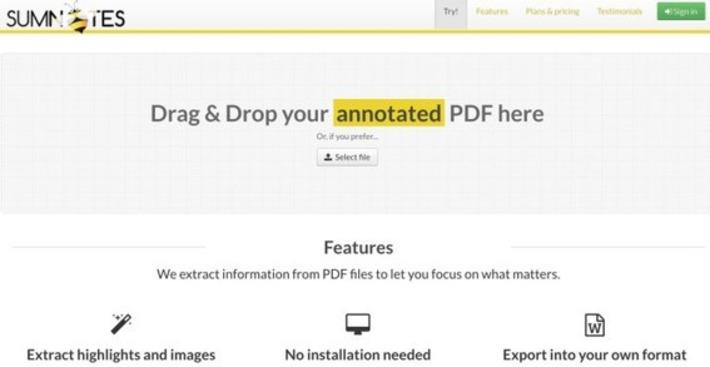 Sumnotes. Extraire l'essentiel de vos fichiers PDF – Les Outils Tice | TIC et TICE mais... en français | Scoop.it