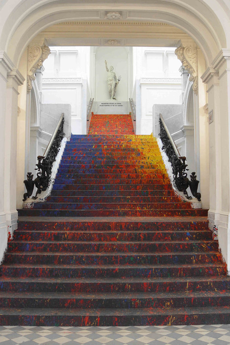 Artist Leon Tarasewicz Covers the #Poland National #Gallery's #Staircase in Splatter #Paint #art | Luby Art | Scoop.it