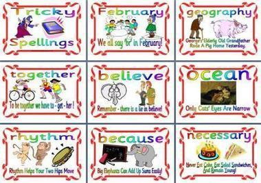 Literacy Display - Tricky Spellings - Mnemonics Display Posters | Dyslexia,SpLD and Kinect Stuff | Scoop.it