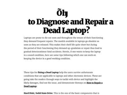 How to Diagnose and Repair a Dead Laptop? | Tech support and Repair Services | Scoop.it