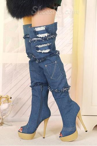 Stylish Peep-toe Denim Knee High Boots | shoespie | Scoop.it