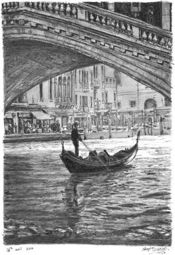 Gondola in the shade - drawings and paintings by Stephen Wiltshire MBE | process drawing | Scoop.it