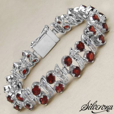 31.70 Grams Genuine Garnet & White Cubic Zirconia .925 Sterling Silver Bracelet   Online Jewellery Shopping in India   Scoop.it