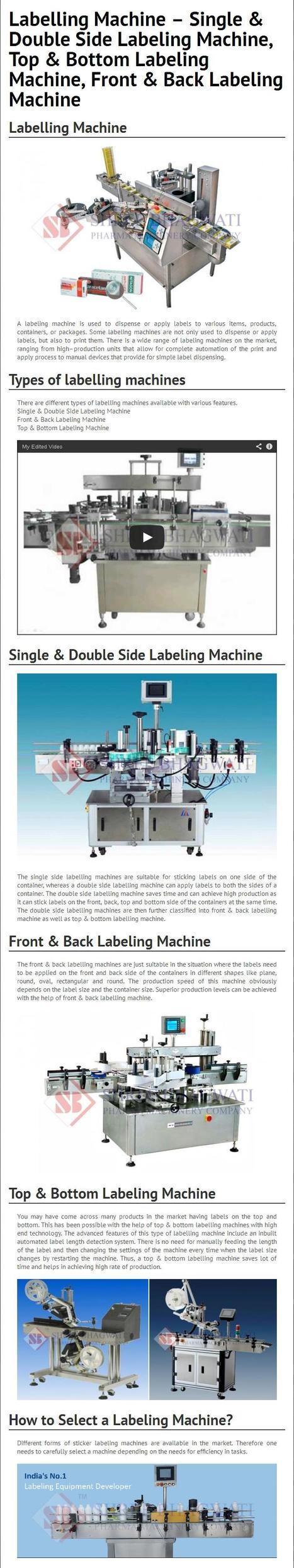 Labelling Machine – Single & Double Side Labeling Machine, Top & Bottom Labeling Machine, Front & Back Labeling Machine | Shree Bhagwati Labelling Technologies | Scoop.it