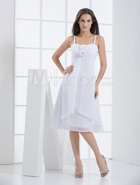Wonderful White A-line Shank Length Chiffon Bridesmaids Dress | Summer Dresses | Scoop.it