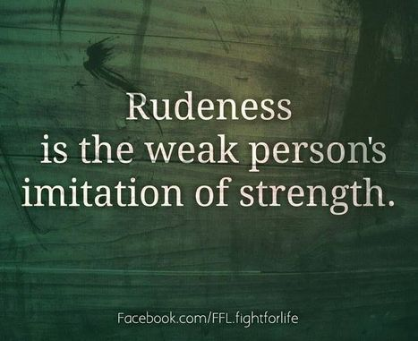 Rudeness Is The Weak Person's Imitation Of Strength | Chummaa...therinjuppome! | Scoop.it