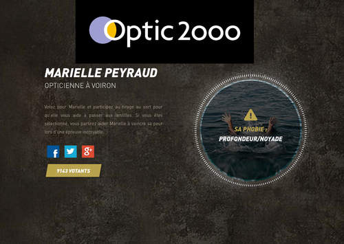 Pas froid aux yeux ! Avec Marielle PEYRAUD Optic2000 Voiron. Votez pour Marielle et participez au tirage le 7 juin prochain.
