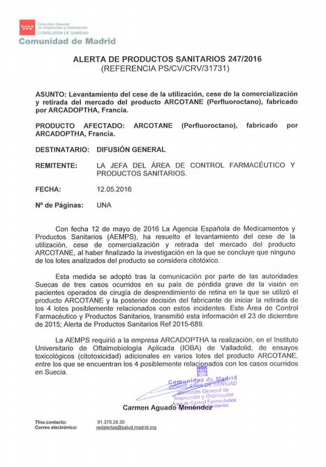 Levantamiento del cese de utilización, cese de la comercialización y retirada del mercado del producto ARCOTANE (Perfluoroctano), fabricado por ARCADOPTHA, Francia | Salud Visual (Profesional) 2.0 | Scoop.it