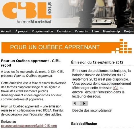 Série radiophonique ICÉA-CIBL | Éducation et formation des adultes | Scoop.it