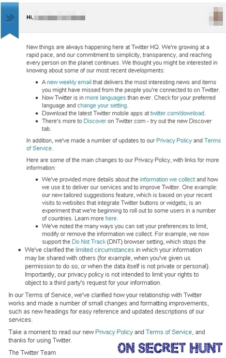 Twitter Updated Their Privacy Policy and Terms Of Conditions | On Secret Hunt | Data privacy & security | Scoop.it