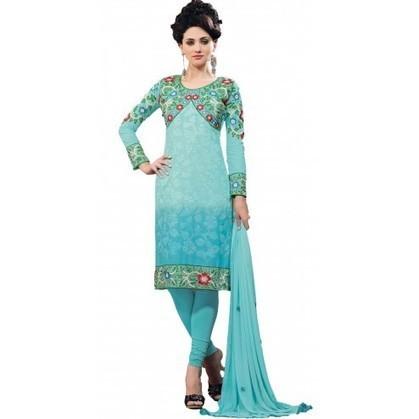 Amazing Blue Cotton Party Wear Churidar Kameez | Designer Salwar Kameez | Party Wear Salwar Kameez | Bollywood Churidar Salwar Kameez | Scoop.it