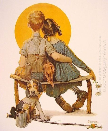 Oil painting reproduction: Norman Rockwell Boy and girl gazing al the moon (puppy love) - Artisoo.com | arts&oil | Scoop.it