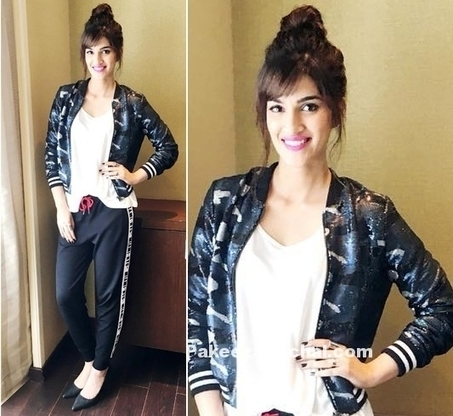 Kriti Sanon Trackpants & Topshop bomber in Casual look | Indian Fashion Updates | Scoop.it