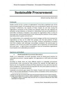 Sustainability in humanitarian procurement | Green humanitarian | Scoop.it
