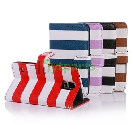 PU Leather Stripe Pattern Wallet Stand Case for Samsung Galaxy S5 | Fixing or DIY our cell phones by ourselves | Scoop.it