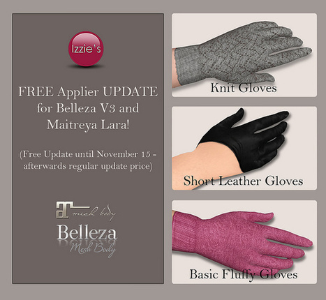 3 Types of Gloves Appliers for Belleza and Maitreya Limited Time Gift by Izzie's | Teleport Hub - Second Life Freebies | Second Life Freebies | Scoop.it