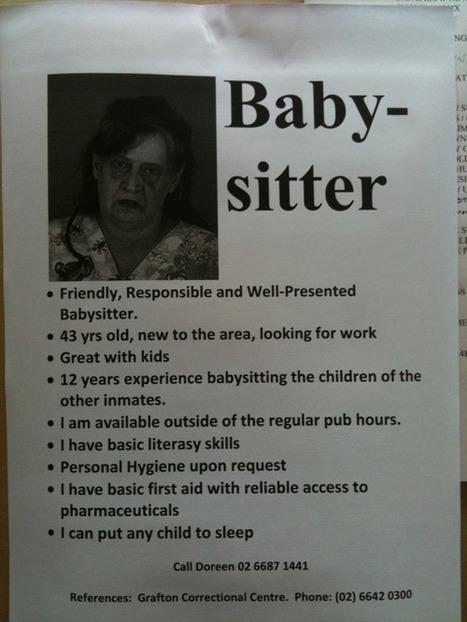 Quand l'affichette de la baby-sitter fait un peu peur | Blogs de pub | Scoop.it