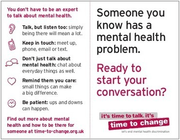 How to help someone with mental illness: depression, bipolar, anxiety | Time To Change | Mental health, innovation and improvement | Scoop.it
