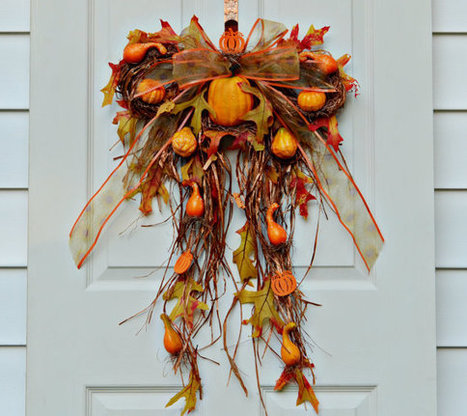 Holiday Wreath , Home Decor , Wreath With Pumpkins ,  Halloween , Thanksgiving Wreath ,  Autumn , Wreath For Holidays , Wreath For Doors , | MrzMKDiva | Scoop.it
