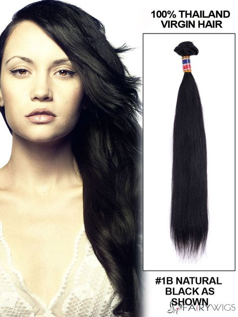 """New 12""""-30"""" Straight Thailand Virgin Hair Extension Weft - Natural Black : fairywigs.com 
