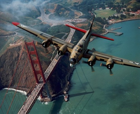 Boeing B-17 Flying Fortress over the Golden Gate Bridge | WW2 Bomber - Nose Art | Scoop.it