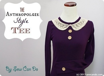 Tutorial: Anthropologie-inspired crochet collar tee · Sewing | CraftGossip.com | What I like to do | Scoop.it