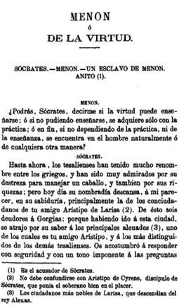 Platón, Menon o de la virtud, Obras completas de Platón, Madrid 1871 | Luis Villoro , diferentes dialogos de Platón | Scoop.it