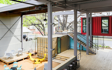 north arrow studio re-purposes shipping containers into stacked bar in texas - designboom | architecture & design magazine | workplace creativity: innovation et travail | Scoop.it