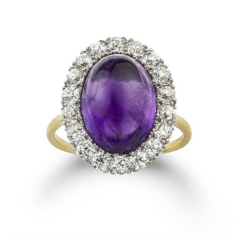 A cabochon amethyst and diamond cluster ring - Bentley & Skinner | Bentley And Skinner | Scoop.it