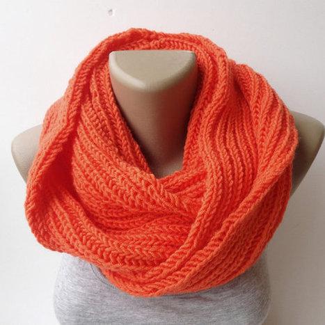 orange knitted scarf, infinity scarf, women scarf, men scarf, winter scarf, gift ideas, eternity scarf | Winter Fashions | Scoop.it