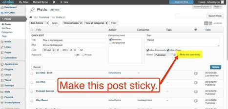 Free Technology for Teachers: How to Make Posts Sticky in WordPress, Kidblog, and Edublogs | e-learning | Scoop.it