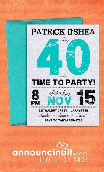 Grunge Teal Birthday Invitations by Announcingit.com { Invitation Shop } | Party Invitations | Scoop.it
