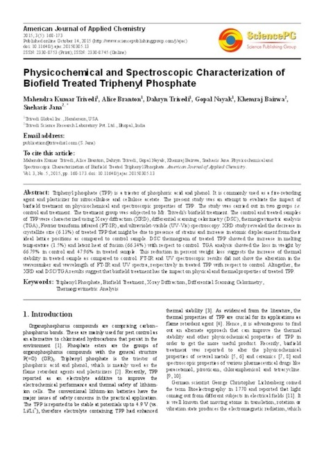 Study an Impact of The Trivedi Effect Triphenyl Phosphate   Wellness   Scoop.it