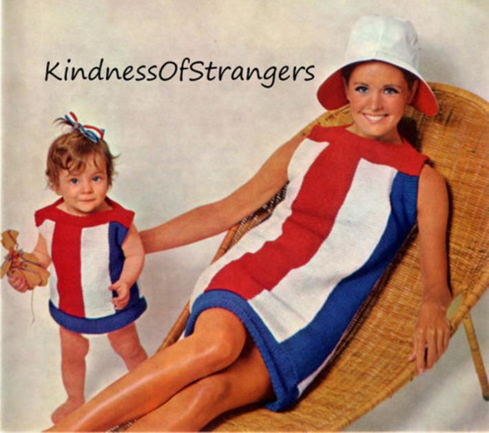 Vintage Mother Daughter Red White & Blue Knit Sundress Knitting Patterns 1964   Kitsch   Scoop.it