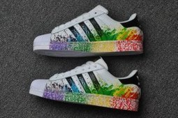 Adidas Originals Superstar Pride Pack Shoes D70351 Lgbt Rainbow Paint | Nike Running Shoes | Scoop.it