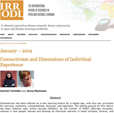 Connectivism and dimensions of individual experience | Tschofen | The International Review of Research in Open and Distance Learning | The Ischool library learningland | Scoop.it